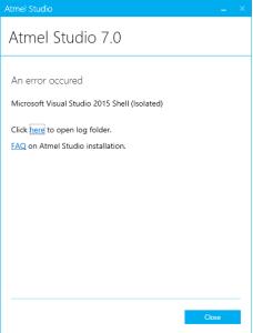 Atmel Studio 7 Install error
